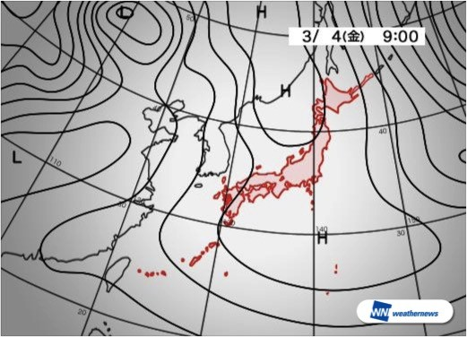 3月4日(金)9時の予想天気図