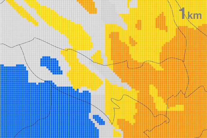 ゲリラ豪雨などの予測