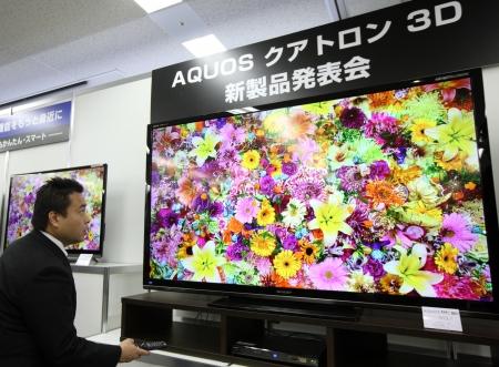 4月18日、シャープは国内最大サイズとなる80V型など6機種をラインアップした液晶テレビ「AQUOS クアトロン G」シリーズを発表した。(Photographer: Tomohiro Ohsumi/Bloomberg via Getty Images)