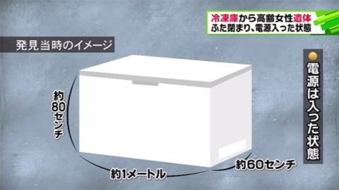 冷凍庫から高齢女性遺体、ふた閉まり電源入った状態