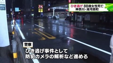 神奈川・湯河原町でひき逃げ、88歳女性が死亡