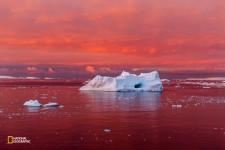 沈みゆく太陽が、南極半島の西岸沖を赤く染める。南極大陸を取り巻く海や大気の温暖化が進むにつれ、沿岸部の氷は崩れてきている。(Camille Seaman/National Geographic)