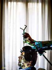 コカイン依存症に陥ったパトリック・ペロッティ氏。イタリア北東部パドバのクリニックで、脳の前頭前皮質に電磁パルスを照射する治療を受けた。(Photograph by Max Aguilera-Hellweg, National Geographic)