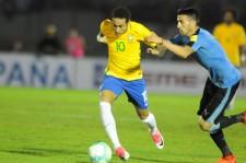 ウルグアイ戦、パラグアイ戦と連続ゴールを決めたネイマール(ブラジル)