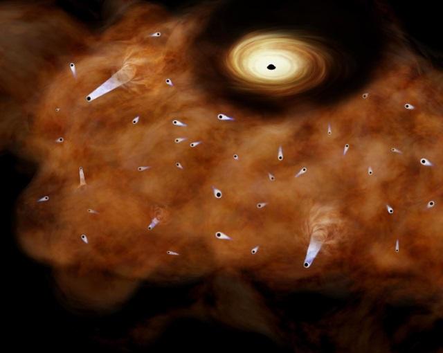 天の川銀河中心部を飛び交う野良ブラックホールの想像図
