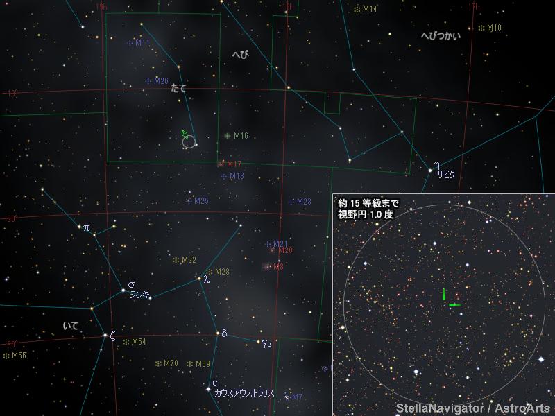 たて座の新星の位置
