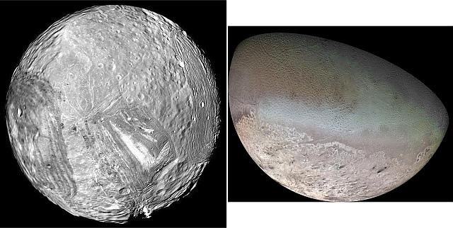 天王星の衛星「ミランダ」と海王星の衛星「トリトン」