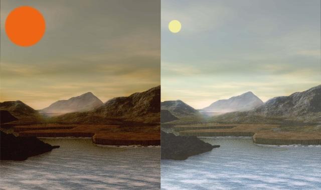 赤色矮星周囲の生命居住惑星と地球の想像図