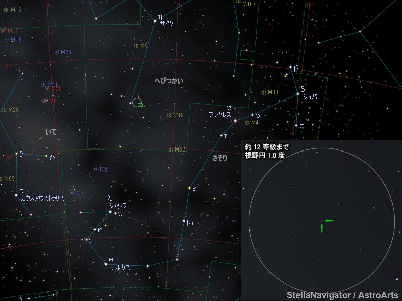 へびつかい座の新星の位置