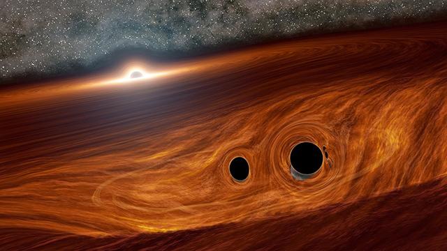 超大質量ブラックホールと周囲の円盤、円盤内のブラックホール連星の想像図