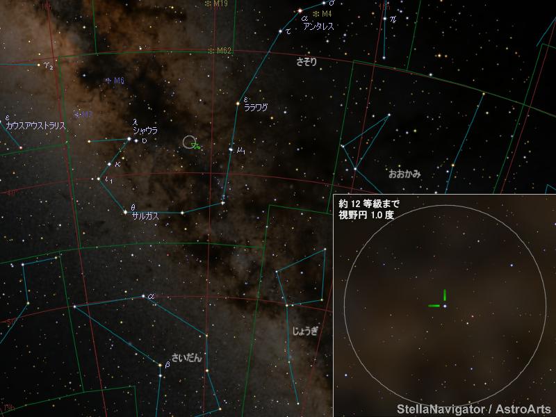 さそり座の新星の位置