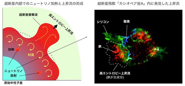 超新星内部での上昇流形成プロセスのイラストとカシオペヤ座AのX線画像