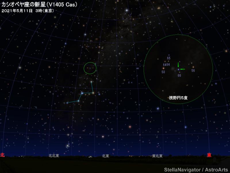 カシオペヤ座の新星の位置