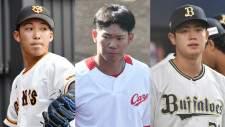(左から)ソフトバンク・栗原陵矢、阪神・ジェフリー・マルテ、ヤクルト・山崎晃大朗ⒸSPAIA