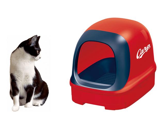 なんと猫のトイレが赤ヘルに…!広島東洋カープとコラボした真っ赤な猫トイレが登場したニャ