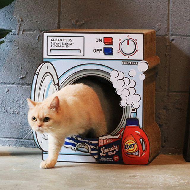 猫が入っていたのは洗濯機…ではなく爪とぎハウス!オーサムストアから新作ペット商品が登場