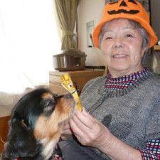 入居者と遊ぶ老犬ルイ。人懐っこく、元気で明るい性格