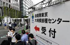 自衛隊による新型コロナウイルスワクチンの大規模接種会場に向かう人たち(2021年5月、東京都千代田区で)