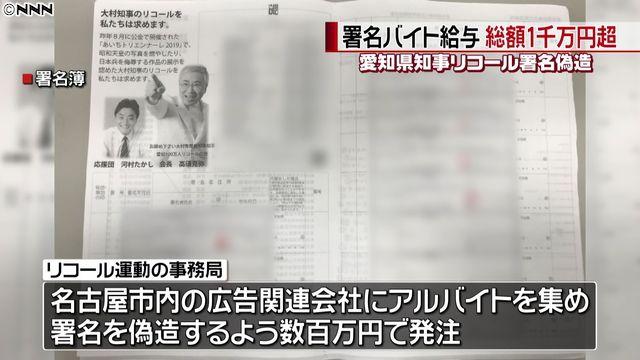 """""""リコール署名偽造""""バイト給与1千万円超"""