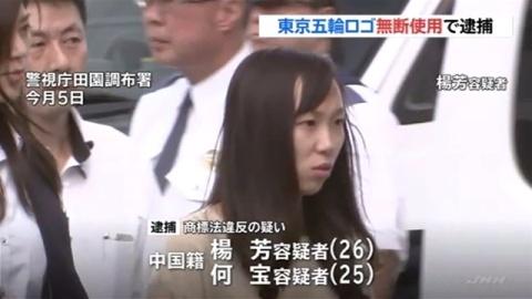 東京五輪ロゴ無断使用、商標法違反の疑いで中国籍の夫妻逮捕