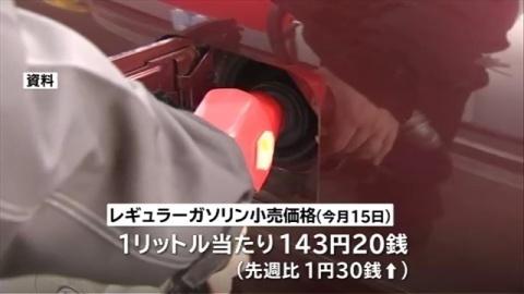 ガソリン価格 4週連続値上がり、約2年半ぶりの高値
