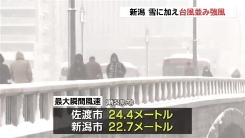 数年に一度の寒波、新潟 雪に加え台風並み強風