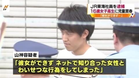 JR東海社員逮捕、16歳女子高生買春の疑い
