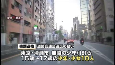 集団で危険な運転繰り返した疑い、少年少女10人書類送検